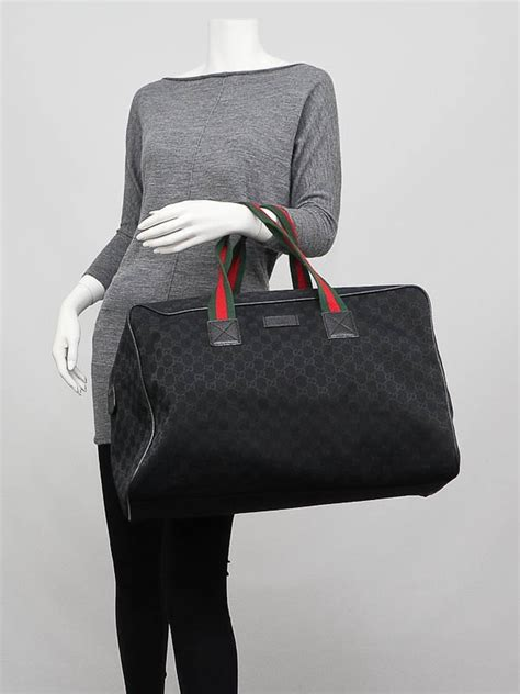 gucci black gg canvas large collapsible carry  duffel bag yoogis closet