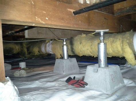 Floor Leveling Jacks Home Depot by Foundation Repair Of Ca Crawl Space Repair Photo Album