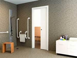 porte coulissante de separation maison design bahbecom With porte de douche coulissante avec miroir rond bois salle de bain