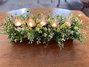 Amazon, Com, Farmhouse, Candle, Tray, Centerpiece, With, Greenery, Dining, Table, Center, Piece, Kitchen