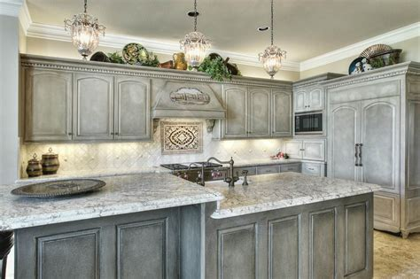 White And Gray Distressed Kitchen Cabinets Kitchen Cabinet