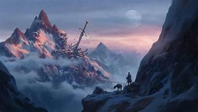 Fantasy Giant Skeleton Mountains Snow Sword Skull