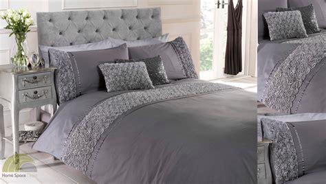 grey silver raised rose duvet quilt cover bed set bedding