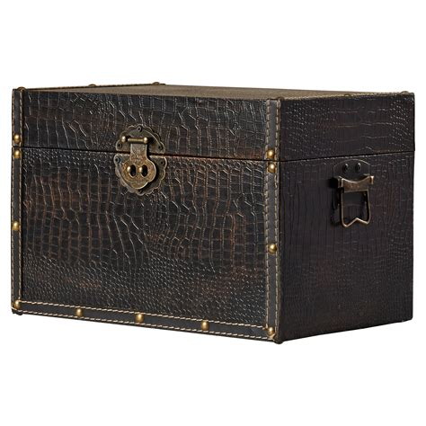 charlton home maryport decorative leather wooden trunk