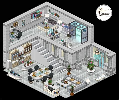 habbo modern mansion pixel art design  art anime room