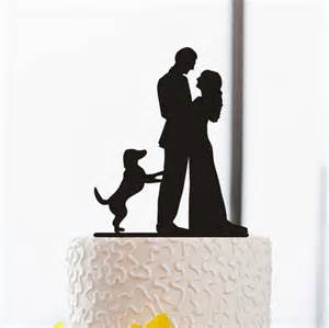 bridal shower party favor ideas wedding cake topper silhouette cake topper with dog