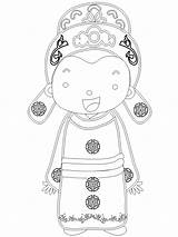 Coloring Kitty Hello Traditional Groom Chinese Template sketch template