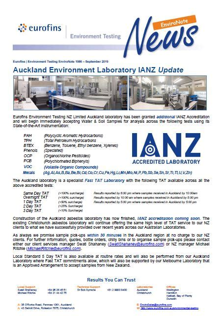 environote  auckland lab additional accreditation