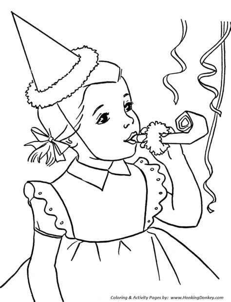birthday coloring pages  printable kids birthday party horn coloring activity pages