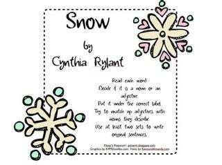 snow  cynthia rylant adjective  noun activity