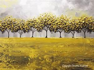 ORIGINAL Art Abstract Painting Yellow Grey Trees Decor