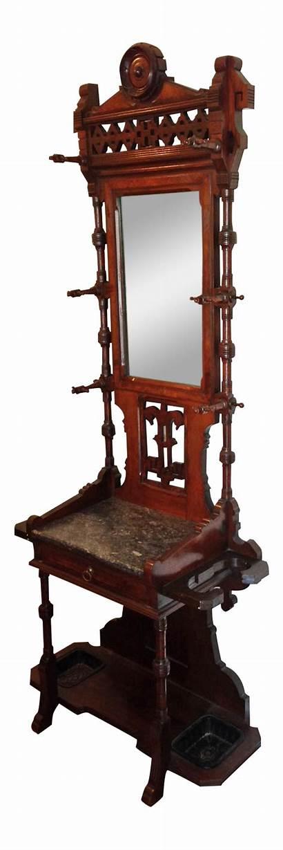 Hall Tree Antique Mirror Wooden Chairish