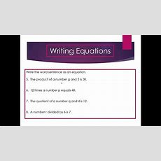 Writing Equations With One Variable  Mrs Renfro Youtube