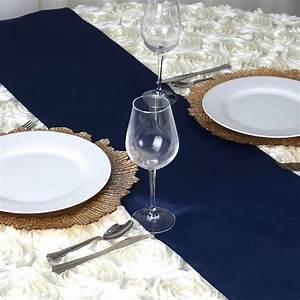 Navy Blue Polyester Table Runner EFavorMart