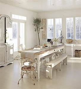 decoration campagne chicmeubles et accessoires 37 idees With deco cuisine avec chaises salon blanches