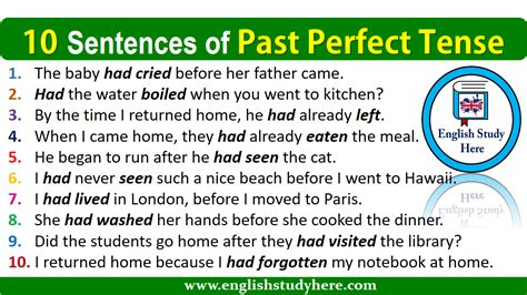 10 Sentences Of Past Perfect Tense  English Study Here
