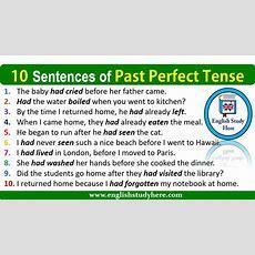 10 Sentences Of Past Perfect Tense  English Study Here