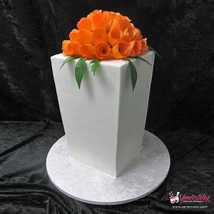 Modern Wedding Cake with Orange Tulips - Yeners Way