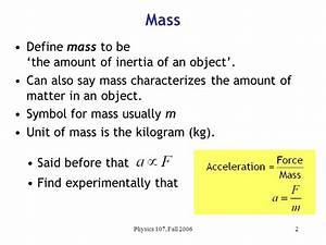 From last time Defined mass m and inertia: Defined ...