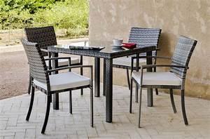 Table De Jardin Tressé : table repas de jardin r sine tress e caibomara carr ~ Nature-et-papiers.com Idées de Décoration
