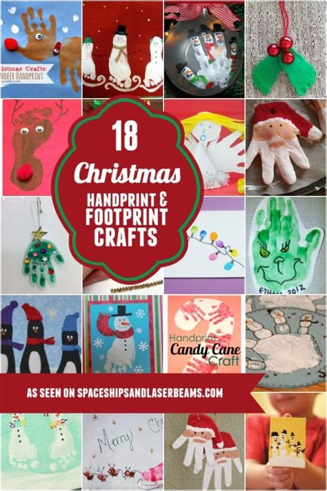 christmas handprint  footprint crafts spaceships