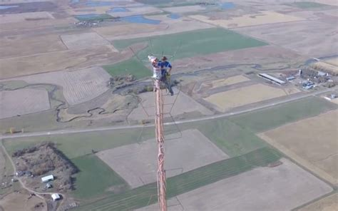 this climb a 1 500 foot tower just to change a