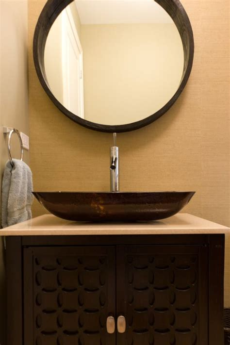 transitional powder room renovation  chicago bathrooms