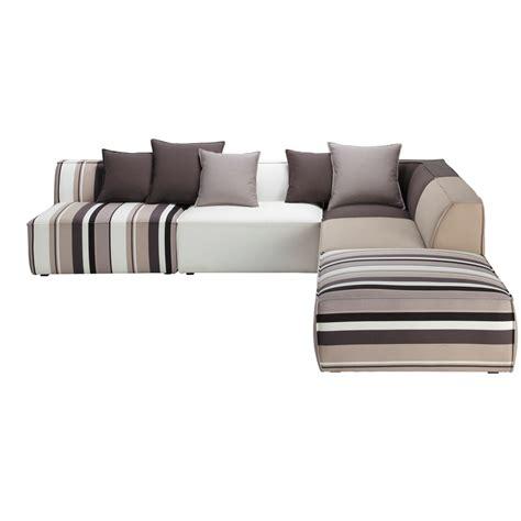 canapé d angle poltronesofa canapé d 39 angle modulable à rayures 5 places en coton