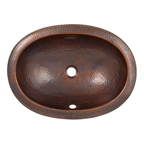 undermount bathroom sink lowes shop the copper factory artisan antique copper undermount