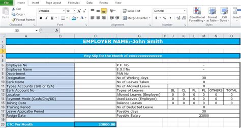 This is a really important section on the salary slip template and is the one that requires constant updating. Salary Slip Format In Excel Free Download - Excel TMP