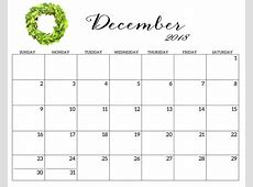 Free Calendar Printable December 2018 Printable Monthly