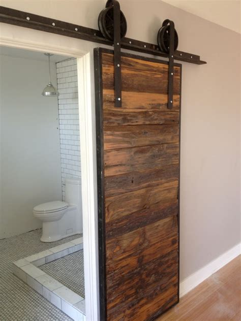 sliding barn door mushroom wood red grey hemlock contemporary bathroom phoenix