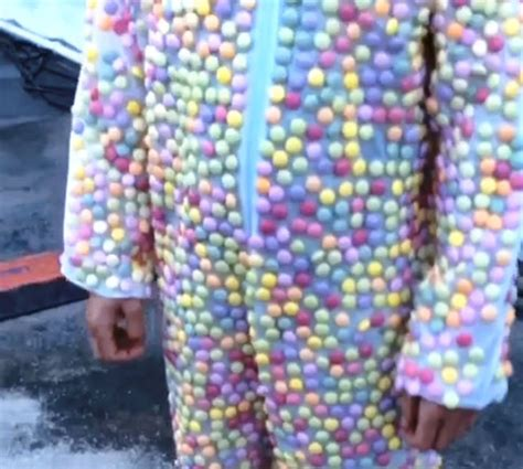 guy wearing  mentos suit  dunked  diet