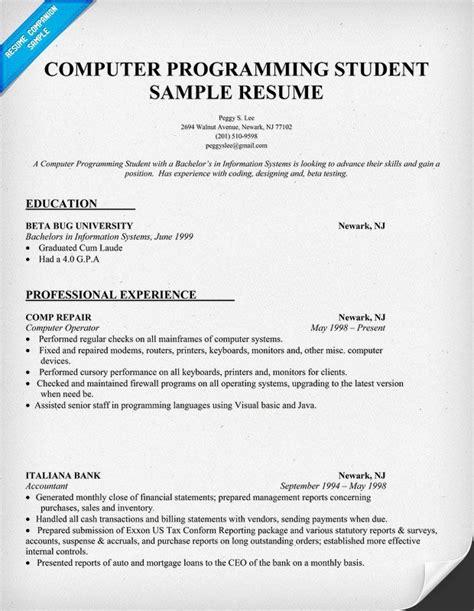 resume sample computer programming student http