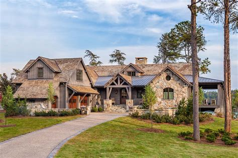 river rock bathroom ideas timber frame home with farmhouse interiors overlooking