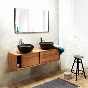 meuble double vasque de design moderne en 60 exemples With porte de douche coulissante avec meuble salle de bain 40 cm profondeur