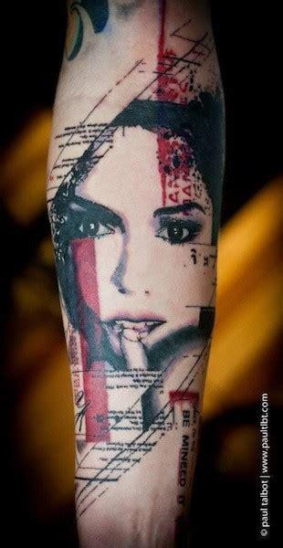 colored trash polka style forearm tattoo  seductive