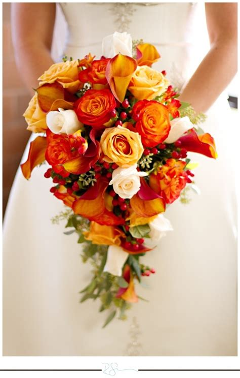 orange bouquets  weddings