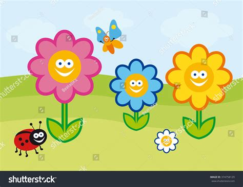 Funny Spring Illustration Vector Colorful Flowers Stock
