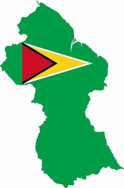 Guyana Flag Map Clipart Outline Transparent Clip