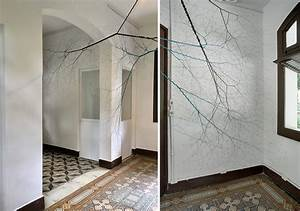 unbraided rope installations branch like roots and nervous With handmade textile weeds by miranda van dijk