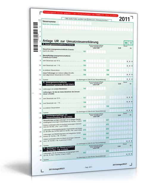 anlagen zur umsatzsteuererklaerung  formular zum
