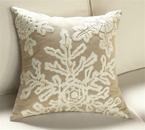 Beaded Snowflake Embellished Pillow Cover Pottery Barn by Neutral Snowflake Embroidered Pillow Cover Pottery Barn