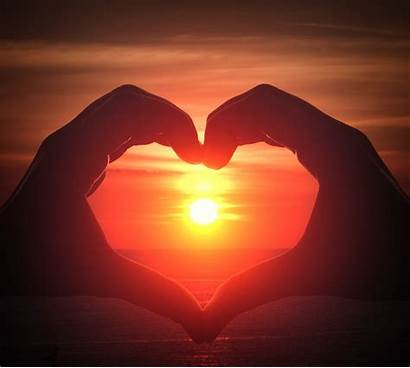 Sunset Heart Hand Shape Silhouette Middle Sil
