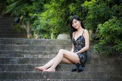 Barefoot Asian 4k Hair Sitting Woman Ultra