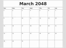 February 2048 Birthday Calendar Template