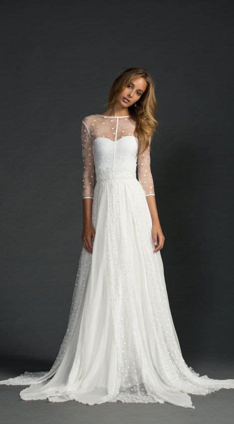 sheer sleeves gorgeous flowy wedding gown  illusion