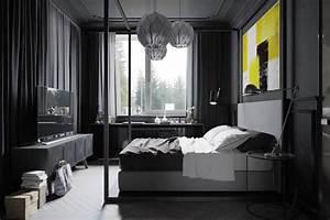 Chambre noire et grise for Chambre grise et noire