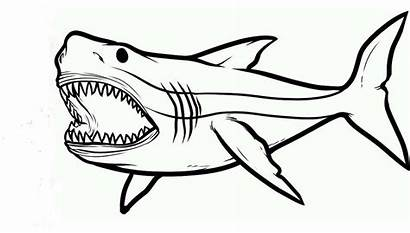 Shark Jaw Coloring Pages Scary Printable Monster