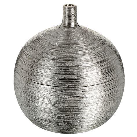 pot de chambre bebe vase boule strié en grès argenté h 24 cm maisons du monde